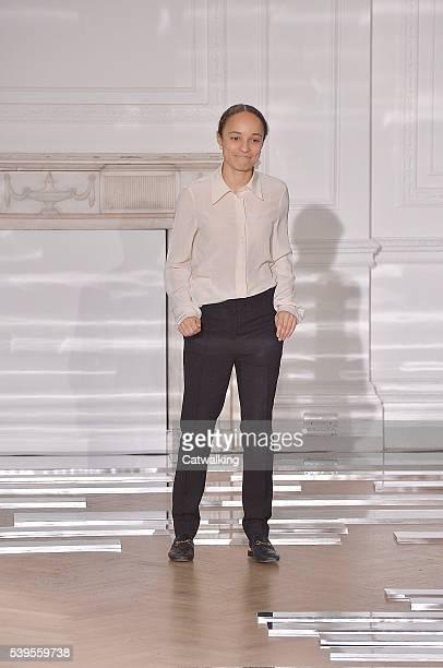 Fashion designer Grace Wales Bonner walks the runway at the Wales Bonner Spring Summer 2017 fashion show during London Menswear Fashion Week on June...