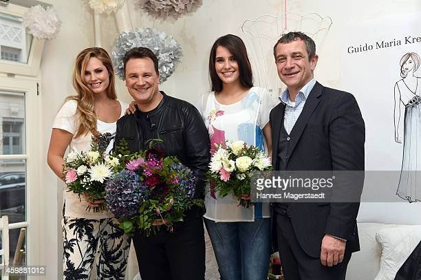 Fashion designer Guido Maria Kretschmer and Juergen Habermann with models attend the Guido Maria Kretschmer by heine Collection Presentation on...