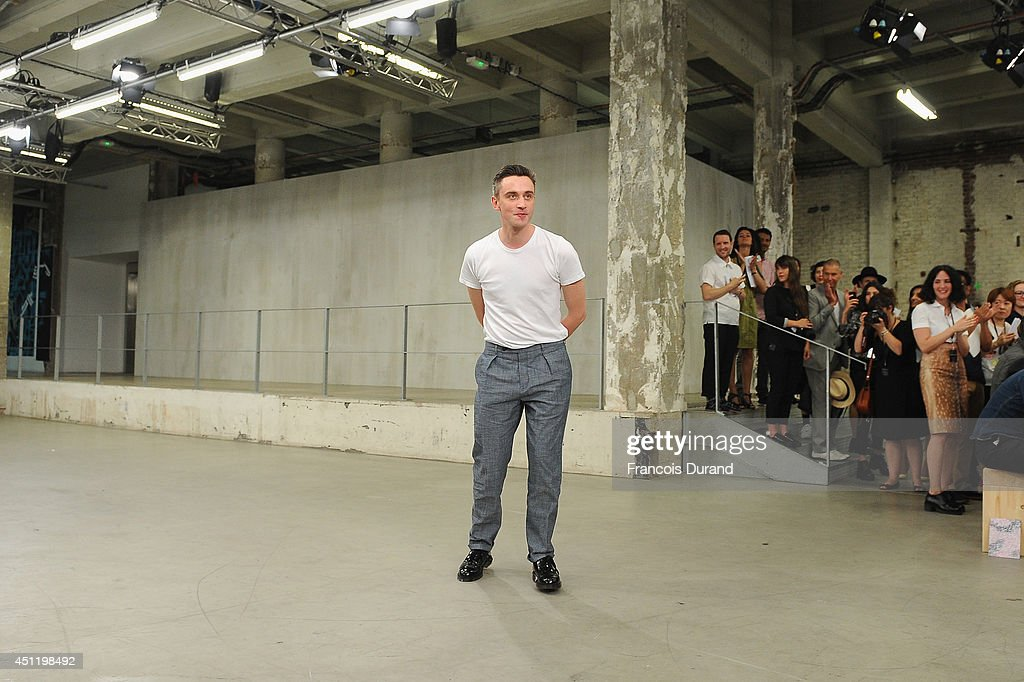 Fashion designer <a gi-track='captionPersonalityLinkClicked' href=/galleries/search?phrase=Guillaume+Henry&family=editorial&specificpeople=7480590 ng-click='$event.stopPropagation()'>Guillaume Henry</a> walks the runway during the Carven show as part of the Paris Fashion Week Menswear Spring/Summer 2015 on June 25, 2014 in Paris, France.