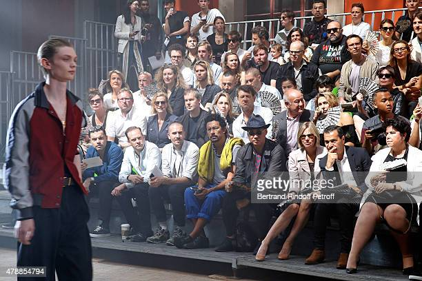 Fashion Designer Haider Ackermann General Director of Lanvin Michele Huiban and Guests attend the Lanvin Menswear Spring/Summer 2016 show as part of...
