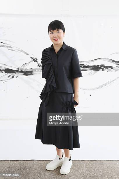 Fashion designer Hanako Maeda poses during the Adeam presentation during New York Fashion Week September 2016 at Milk Studios on September 7 2016 in...