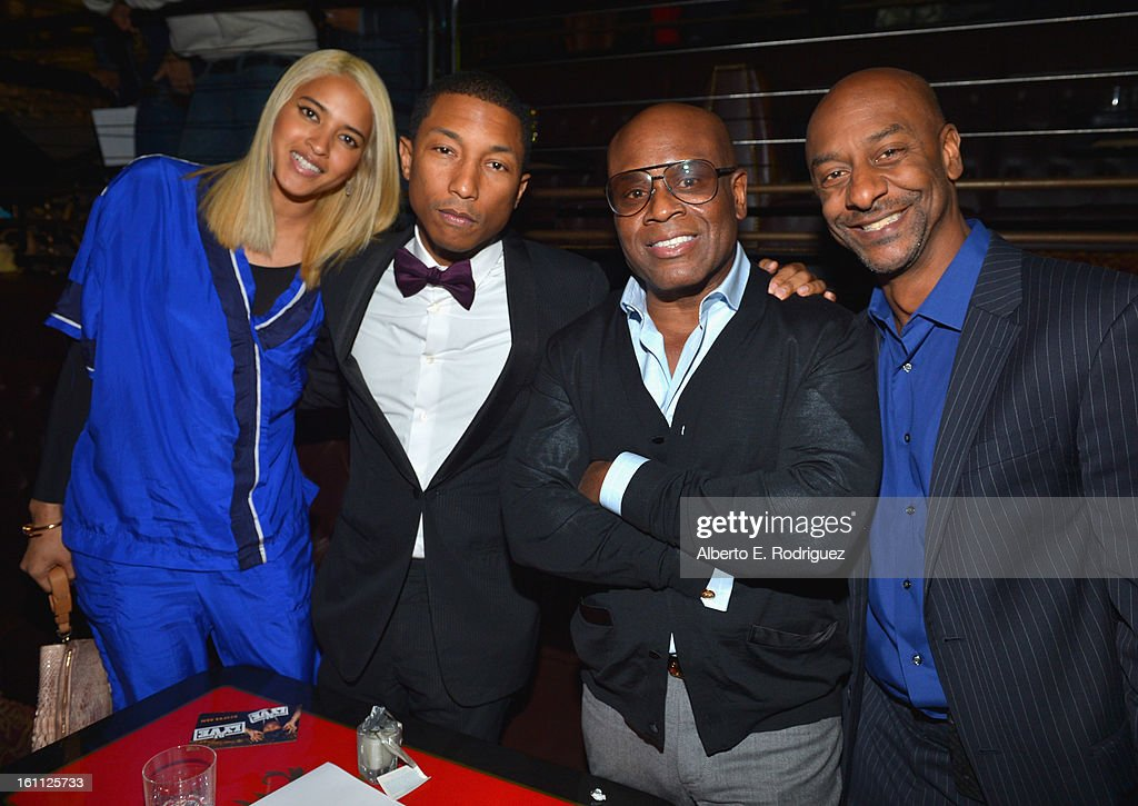 Fashion designer Helen Lasichanh, singer <a gi-track='captionPersonalityLinkClicked' href=/galleries/search?phrase=Pharrell+Williams&family=editorial&specificpeople=161396 ng-click='$event.stopPropagation()'>Pharrell Williams</a>, producer Antonio 'L.A.' Reid and BET president of music programming and specials Stephen Hill attend the BET Music Matters Grammy Showcase on February 8, 2013 in Los Angeles, California.