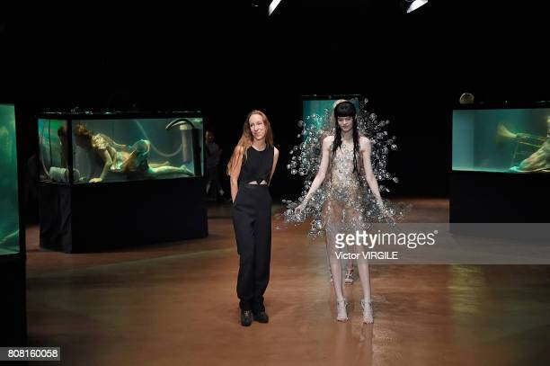 Fashion designer Iris Van Herpen walks the runway during the Iris Van Herpen Haute Couture Fall/Winter 20172018 show as part of Haute Couture Paris...