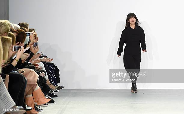 Fashion designer Jackie Lee on the runway after her J JS Lee show during London Fashion Week Autumn/Winter 2016/17 at Brewer Street Car Park on...