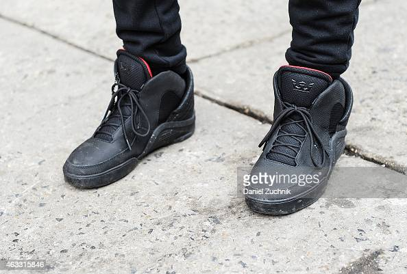 Fashion Designer Jason Christopher Peters is seen outside the Duckie Brown show wearing Supra sneakers on February 12 2015 in New York City