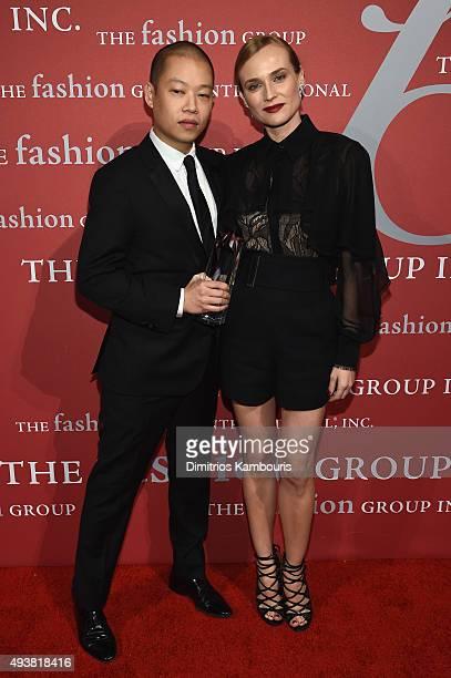 Fashion Designer Jason Wu poses with his award and actress Diane Kruger at the 2015 Fashion Group International Night Of Stars Gala at Cipriani Wall...