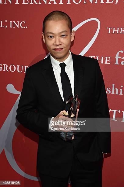 Fashion Designer Jason Wu poses with his award at the 2015 Fashion Group International Night Of Stars Gala at Cipriani Wall Street on October 22 2015...