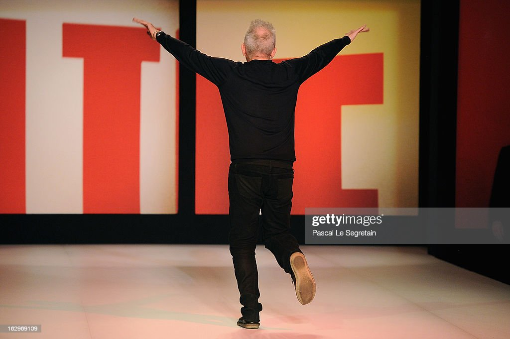 Fashion designer Jean Paul Gaultier acknowledges applause following Jean Paul Gaultier Fall/Winter 2013 Ready-to-Wear show as part of Paris Fashion Week on March 2, 2013 in Paris, France.