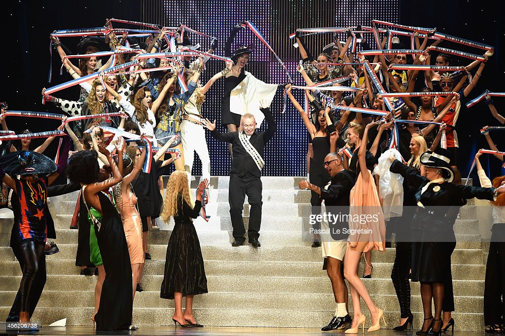 Fashion designer Jean Paul Gaultier acknowledges the applause of the audience following the Jean Paul Gaultier show as part of the Paris Fashion Week...