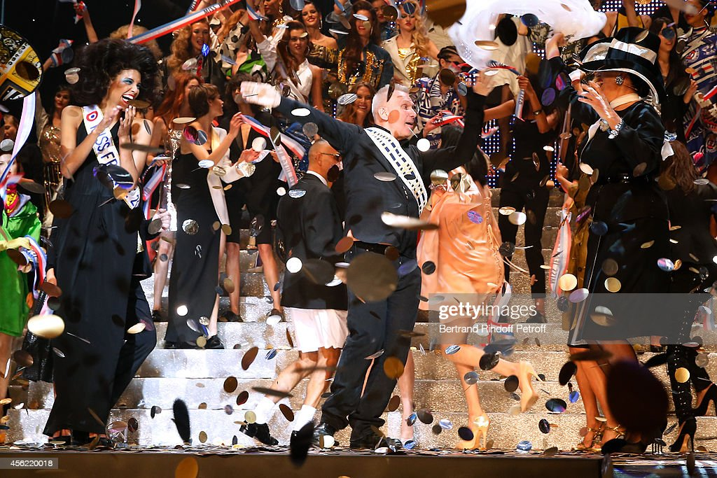 Fashion designer Jean Paul Gaultier, actress Rossy de Palma and models on stage at the end of the last Jean Paul Gaultier Womenswear show as part of the Paris Fashion Week Womenswear Spring/Summer 2015. Held at 'Le Grand Rex' on September 27, 2014 in Paris, France.