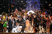 Fashion designer Jean Paul Gaultier actress Rossy de Palma and models on stage at the end of the last Jean Paul Gaultier Womenswear show as part of...