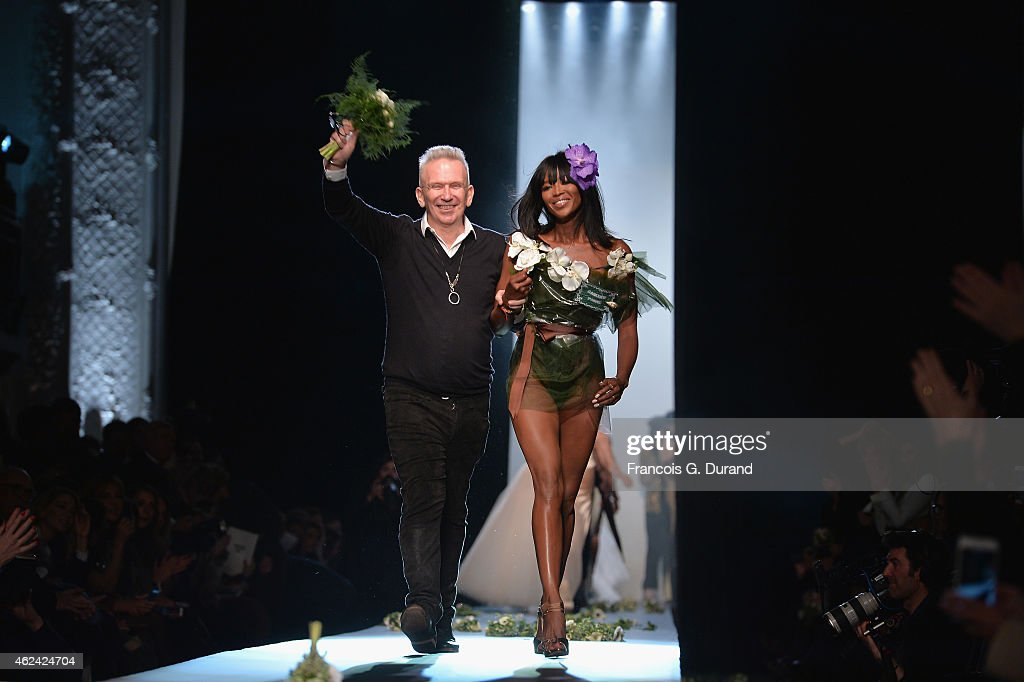 Fashion designer Jean Paul Gaultier and model Naomi Campbell walk the runway during the Jean Paul Gaultier show as part of Paris Fashion Week Haute Couture Spring/Summer 2015 on January 28, 2015 in Paris, France.