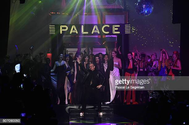 Fashion designer Jean Paul Gaultier and models are seen on the runway during the Jean Paul Gaultier Spring Summer 2016 show as part of Paris Fashion...