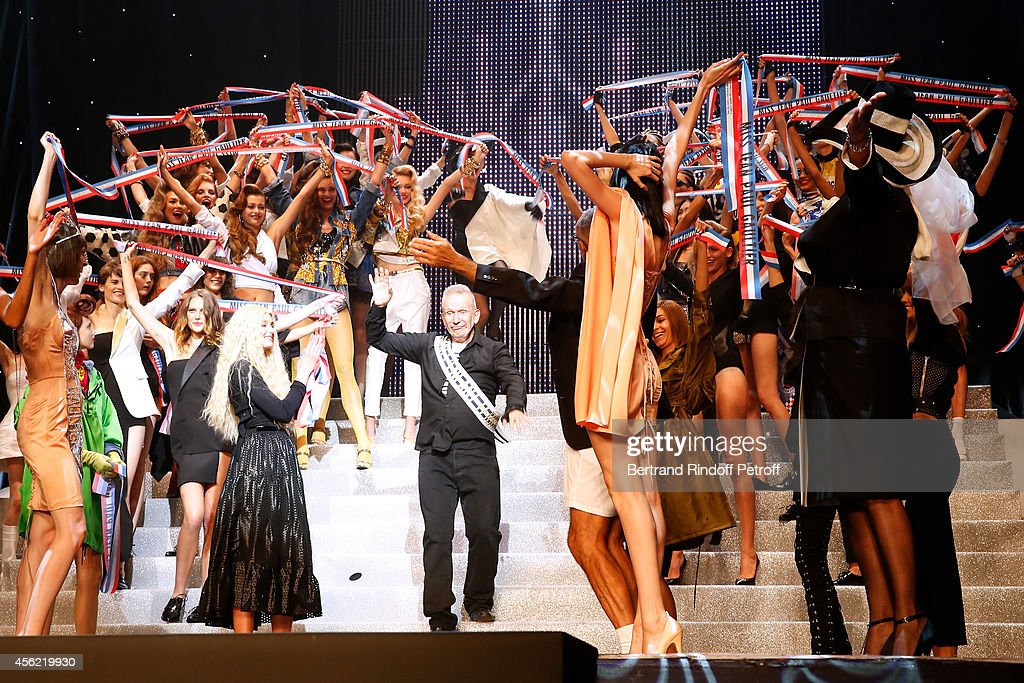 Fashion designer Jean Paul Gaultier, Tanel, actress Rossy de Palma and models on stage at the end of the last Jean Paul Gaultier Womenswear show as part of the Paris Fashion Week Womenswear Spring/Summer 2015. Held at 'Le Grand Rex' on September 27, 2014 in Paris, France.