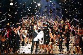 Fashion designer Jean Paul Gaultier Tanel actress Rossy de Palma and models on stage at the end of the last Jean Paul Gaultier Womenswear show as...