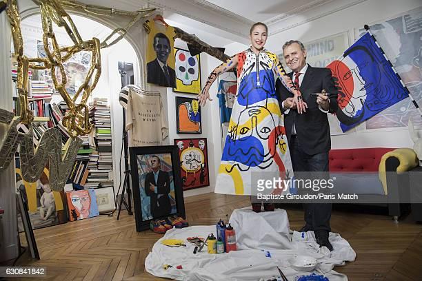 Fashion designer JeanCharles de Castelbajac is photographed with actor Marilou Berry for Paris Match on December 9 2016 in Paris France
