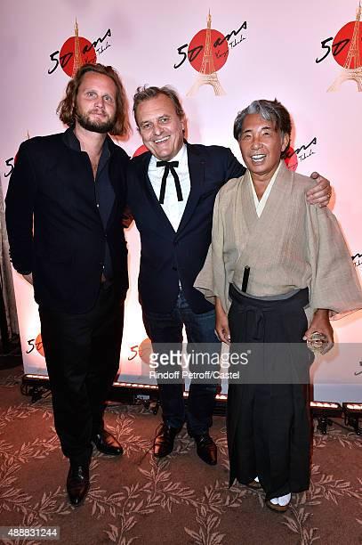 Fashion Designer JeanCharles de Castelbajac standing between his son Guilhem de Castelbajac and Kenzo Takada attend the Kenzo Takada's 50 Years of...