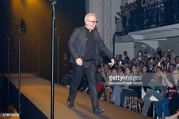Fashion Designer JeanPaul Gaultier acknowledges the applause of the audience at the end of the Jean Paul Gaultier show as part of Paris Fashion Week...
