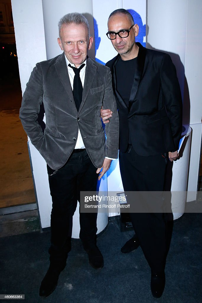 Fashion Designer Jean-Paul Gaultier and Tanel Bedrossiantz attend the Annual Charity Dinner hosted by the AEM Association Children of the World for Rwanda. Held at Espace Cardin on December 18, 2014 in Paris, France.