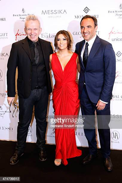 Fashion designer JeanPaul Gaultier Eva Longoria and Journalist Nikos Aliagas attend the Global Gift Gala Photocall Held at Four Seasons Hotel George...