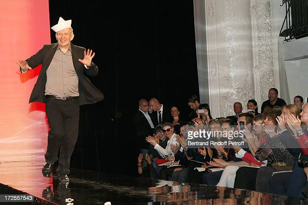 Fashion designer JeanPaul Gaultier walks on the runway at the end of the Jean Paul Gaultier show as part of Paris Fashion Week HauteCouture...
