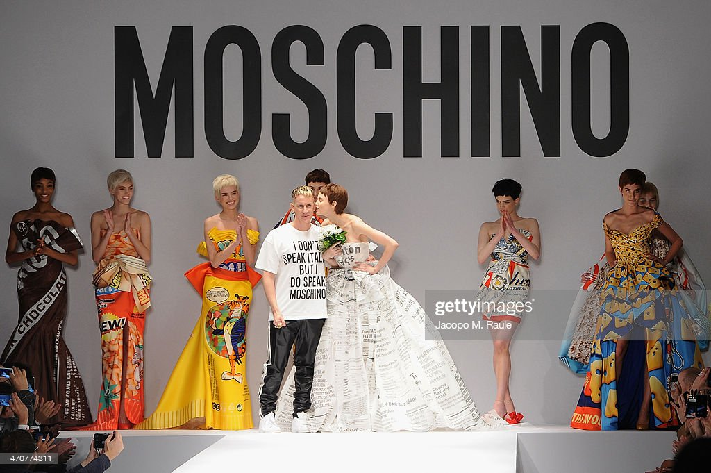 Fashion designer <a gi-track='captionPersonalityLinkClicked' href=/galleries/search?phrase=Jeremy+Scott+-+Fashion+Designer&family=editorial&specificpeople=8682070 ng-click='$event.stopPropagation()'>Jeremy Scott</a> on the runway after the Moschino fashion show at Milan Fashion Week Womenswear Autumn/Winter 2014 on February 20, 2014 in Milan, Italy.