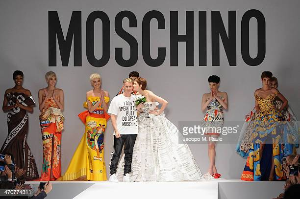 Fashion designer Jeremy Scott on the runway after the Moschino fashion show at Milan Fashion Week Womenswear Autumn/Winter 2014 on February 20 2014...