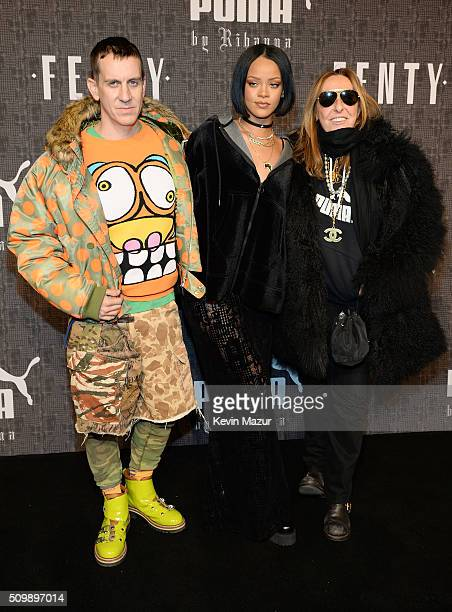 Fashion designer Jeremy Scott Rihanna and stylist Carlyne Cerf de Dudzeele attend the FENTY PUMA by Rihanna AW16 Collection during Fall 2016 New York...