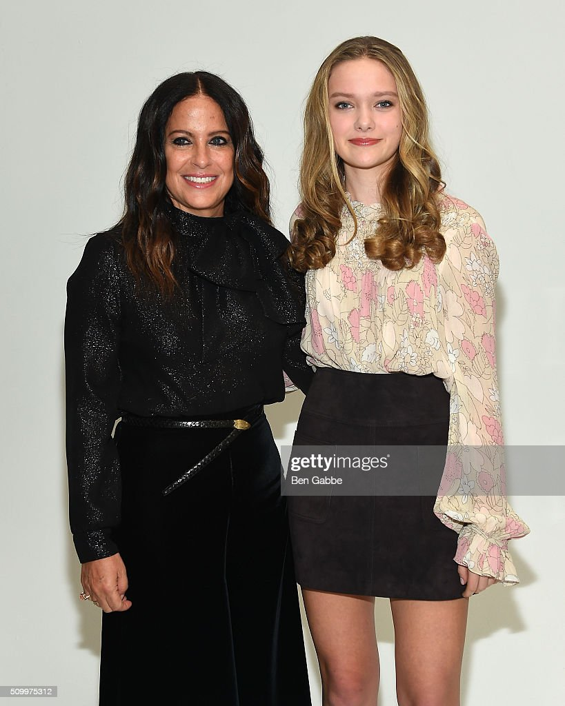 Fashion designer Jill Stuart (L) and actress Bridget McGarry backstage at the Jill Stuart fashion show during Fall 2016 New York Fashion Week at Industria Superstudio on February 13, 2016 in New York City.