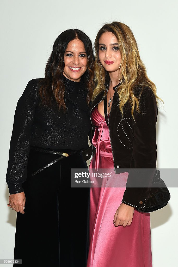 Fashion designer Jill Stuart (L) and daughter Sophie Curtis backstage at the Jill Stuart fashion show during Fall 2016 New York Fashion Week at Industria Superstudio on February 13, 2016 in New York City.