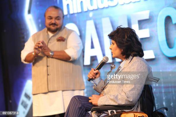 Fashion Designer JJ Valaya with Paraathlete Deepa Malik during the Hindustan Times Game Changer Awards 2017 at Hotel Oberoi on May 24 2017 in Gurgaon...