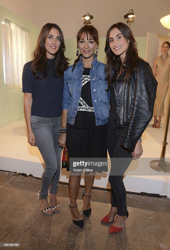 Fashion designer Jodie Snyder actress Rashida Jones and fashion designer Danielle Snyder attend the Dannijo presentation during MercedesBenz Fashion...