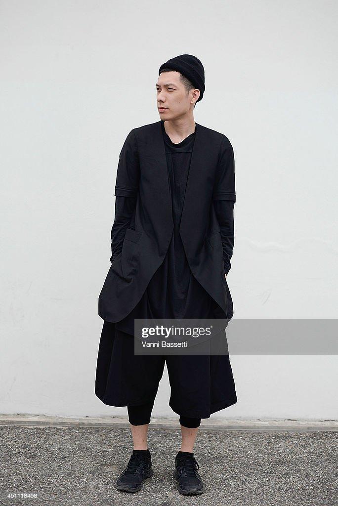 Fashion designer Joe Chia is seen wearing a Joe Chia total look and Nike sneakers on June 23, 2014 in Milan, Italy.