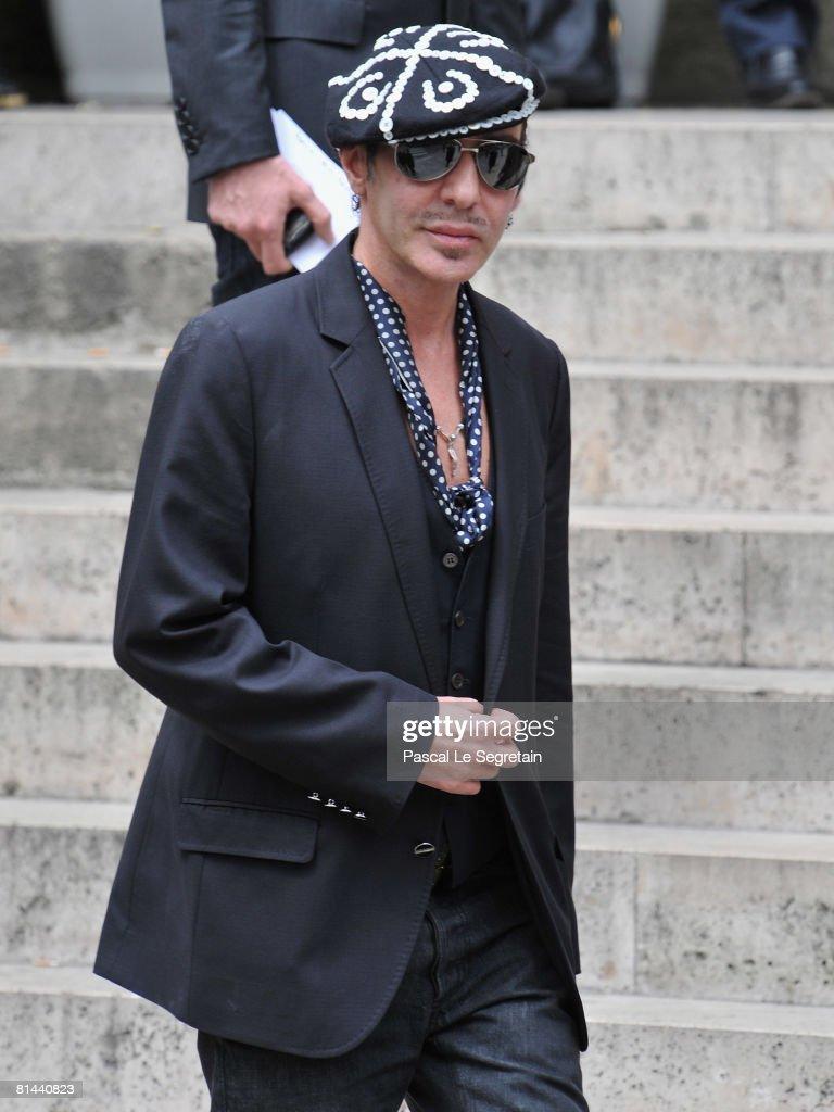 Fashion Designer John Galiano attends Yves Saint Laurent's Funeral Service on June 5 2008 at Eglise SaintRoch in Paris France The designer Yves Saint...
