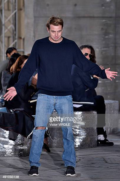 Fashion designer Jonathan Anderson walks the runway during the Loewe Ready to Wear show as part of the Paris Fashion Week Womenswear Spring/Summer...