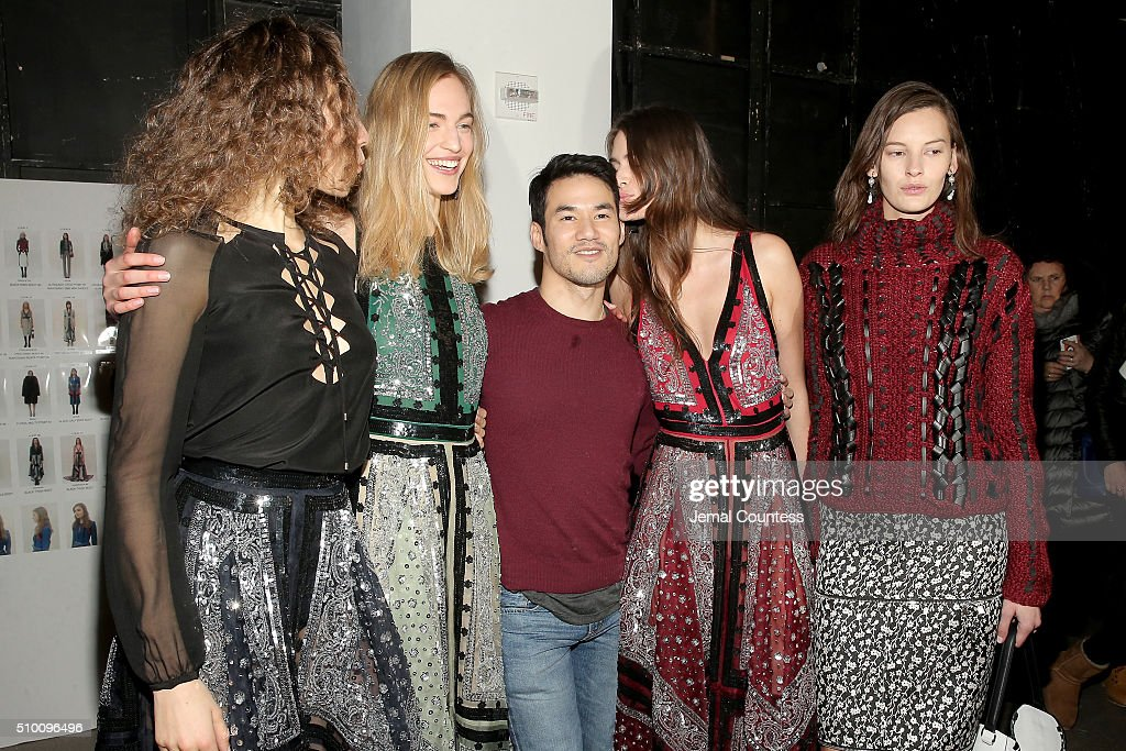 Fashion designer <a gi-track='captionPersonalityLinkClicked' href=/galleries/search?phrase=Joseph+Altuzarra+-+Fashion+Designer&family=editorial&specificpeople=5710924 ng-click='$event.stopPropagation()'>Joseph Altuzarra</a> (C) and models appear backstage at the Altuzarra Fall 2016 fashion show during New York Fashion Week at Spring Studios on February 13, 2016 in New York City.