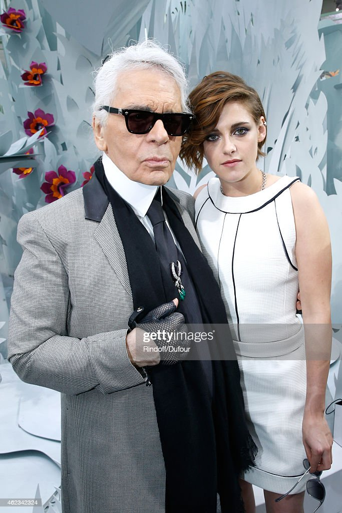 Fashion Designer <a gi-track='captionPersonalityLinkClicked' href=/galleries/search?phrase=Karl+Lagerfeld+-+Fashion+Designer&family=editorial&specificpeople=4330565 ng-click='$event.stopPropagation()'>Karl Lagerfeld</a> and actress <a gi-track='captionPersonalityLinkClicked' href=/galleries/search?phrase=Kristen+Stewart&family=editorial&specificpeople=2166264 ng-click='$event.stopPropagation()'>Kristen Stewart</a> pose after the Chanel show as part of Paris Fashion Week Haute Couture Spring/Summer 2015 on January 27, 2015 in Paris, France.