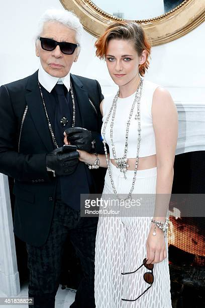 Fashion designer Karl Lagerfeld and actress Kristen Stewart poses backstage after the Chanel show as part of Paris Fashion Week Haute Couture...