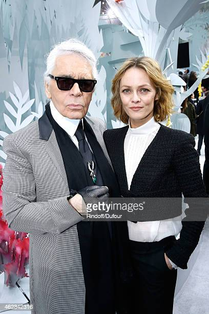 Fashion Designer Karl Lagerfeld and actress Vanessa Paradis pose after the Chanel show as part of Paris Fashion Week Haute Couture Spring/Summer 2015...