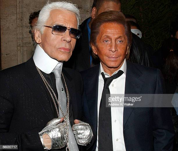 Fashion designer Karl Lagerfeld and fellow fashion designer Valentino pose for a photo durning the Fendi 80th Anniversary Party Hosted By Karl...