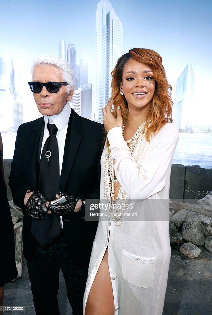 Fashion Designer Karl Lagerfeld and Singer Rihanna attends the Chanel show as part of Paris Fashion Week Haute-Couture Fall/Winter 2013-2014 at Grand Palais on July 2, 2013 in Paris, France.