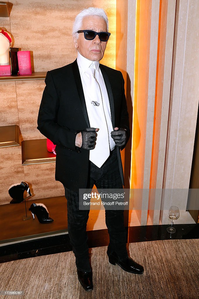 designer for fendi dyns  Fashion Designer Karl Lagerfeld attend the Avenue Montaigne Fendi new shop  opening party, which will