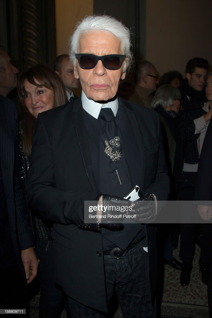 Fashion designer Karl Lagerfeld attends 'La Petite Veste Noire' Book Launch Hosted By Carine Roitfeld and himself at Grand Palais on November 8, 2012 in Paris, France.