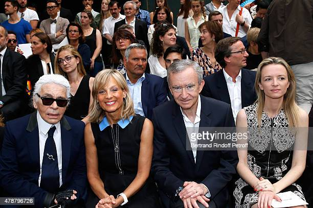 Fashion Designer Karl Lagerfeld Helene Arnault Owner of LVMH Luxury Group Bernard Arnault Louis Vuitton's executive vice president Delphine Arnault...