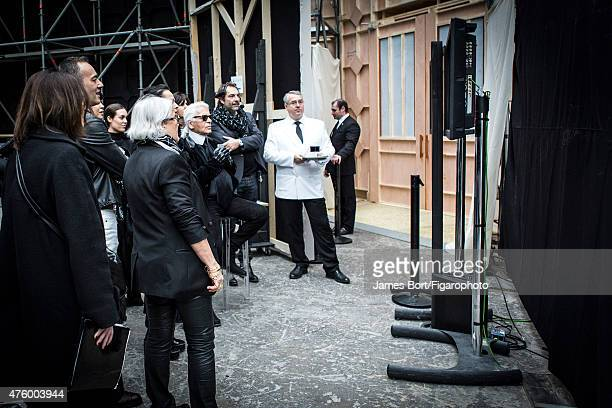 Fashion designer Karl Lagerfeld is photographed for Madame Figaro backstage at Chanel Autumn/Winter 20152016 prêtàporter show on March 10 2015 in at...