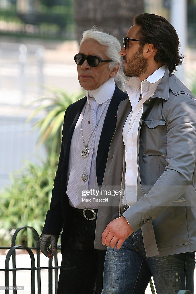 Fashion designer Karl Lagerfeld is sighted around the 'Hermitage' hotel before the Royal Wedding of <a gi-track='captionPersonalityLinkClicked' href=/galleries/search?phrase=Prince+Albert+II+of+Monaco&family=editorial&specificpeople=201707 ng-click='$event.stopPropagation()'>Prince Albert II of Monaco</a> to <a gi-track='captionPersonalityLinkClicked' href=/galleries/search?phrase=Charlene+-+Princess+of+Monaco&family=editorial&specificpeople=726115 ng-click='$event.stopPropagation()'>Charlene</a> Wittstock in the main courtyard at on July 2, 2011 in Monaco, Monaco.