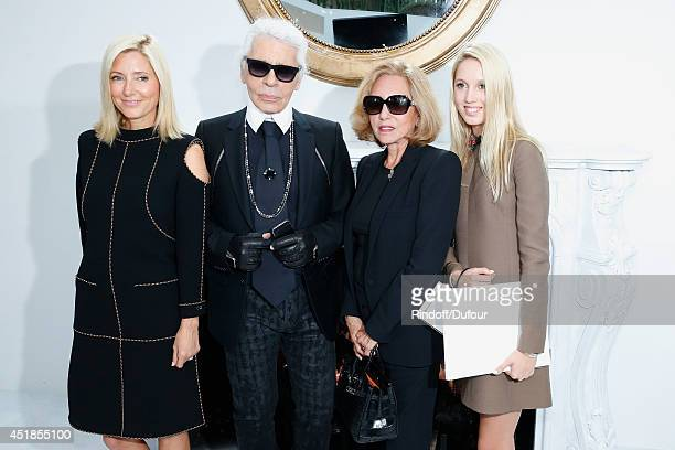 Fashion designer Karl Lagerfeld Princess MarieChantal of Greece her daughter Princess Maria Olympia of Greece and her mother Miss Robert W Miller...