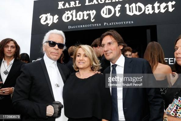 Fashion Designer Karl Lagerfeld Silvia Venturini Fendi and CEO Fendi Pietro Beccari attend 'The Glory Of Water' Karl Lagerfeld's Exhibition Preview...