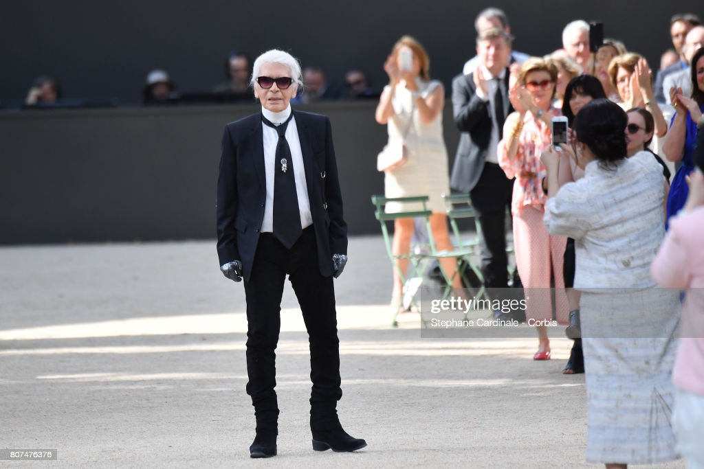 Fashion designer Karl Lagerfeld walks the runway during the Chanel Haute Couture Fall/Winter 2017-2018 show as part of Haute Couture Paris Fashion Week on July 4, 2017 in Paris, France.