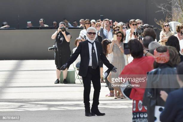 fashion designer Karl Lagerfeld walks the runway during the Chanel Haute Couture Fall/Winter 20172018 show as part of Haute Couture Paris Fashion...